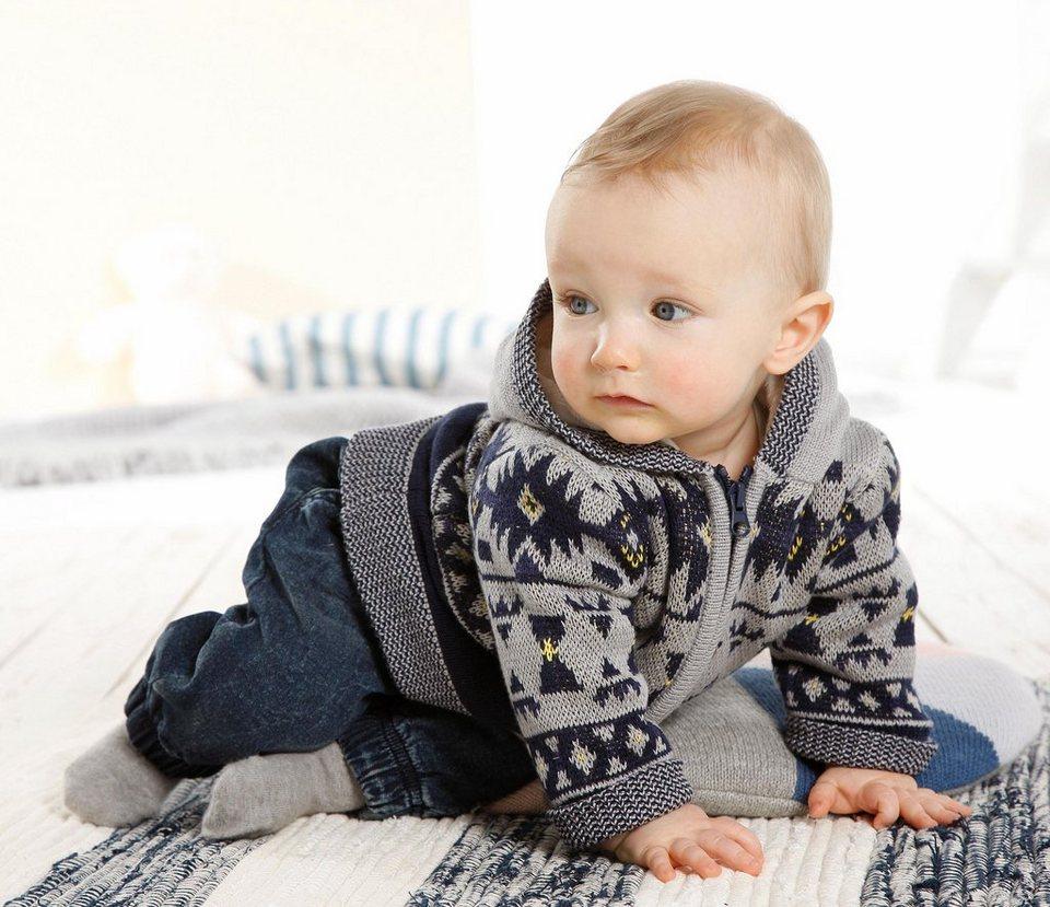 Klitzeklein Kapuzenstrickjacke, für Babys in Blau-Gemustert