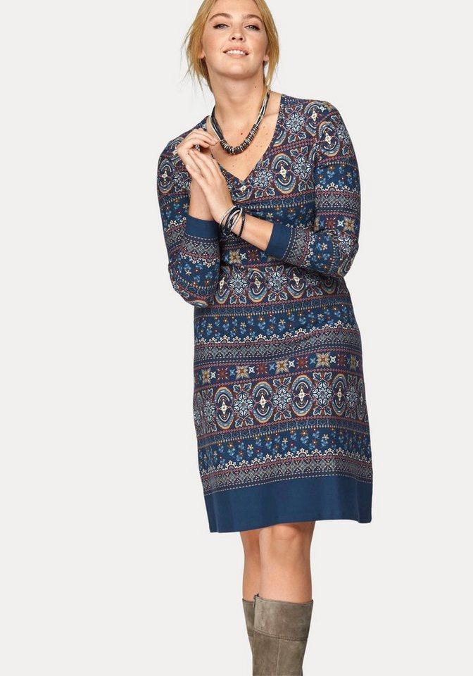 Boysen's Jerseykleid mit aufwendigem Bordürendruck in blau-bedruckt