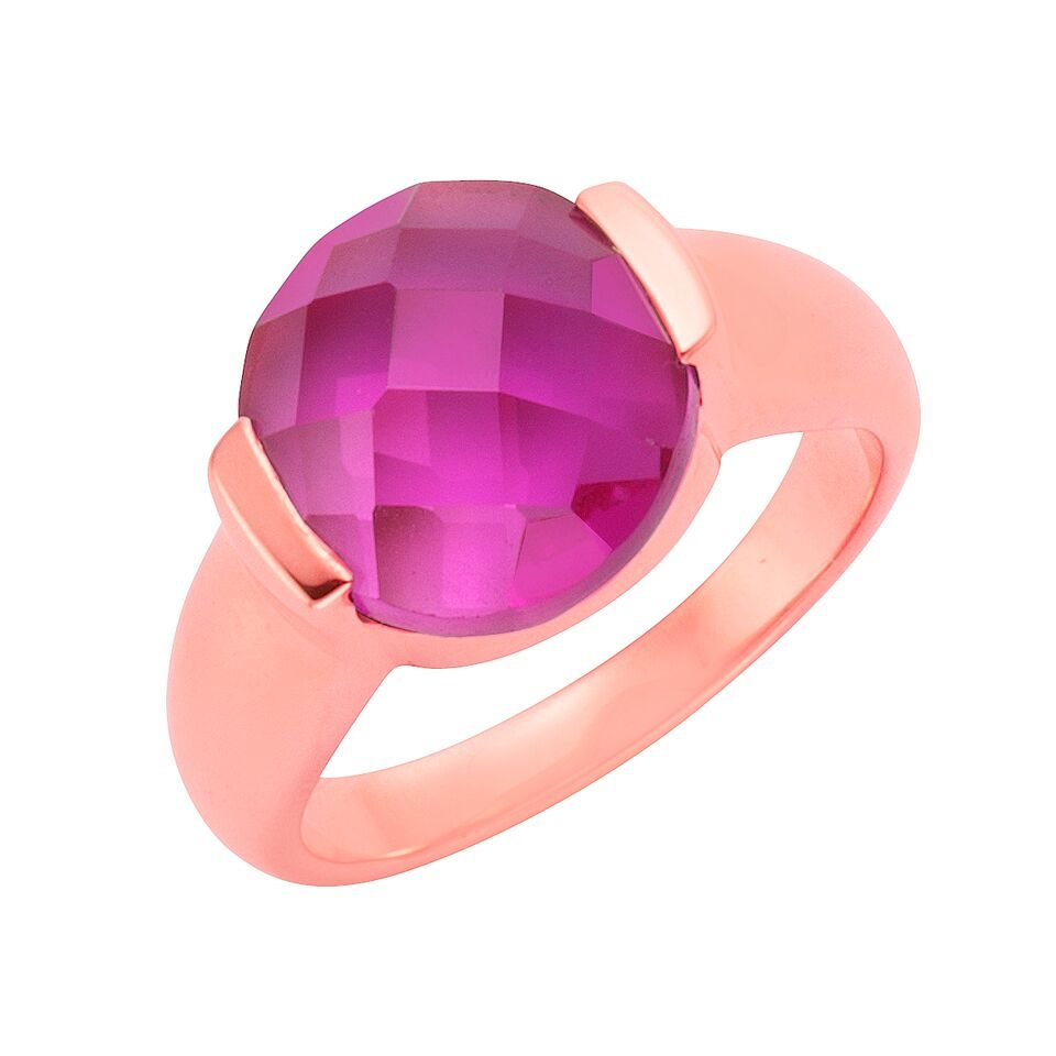 Jamelli Ring »925/- Sterling Silber rotvergoldet Quarz pink« in rot