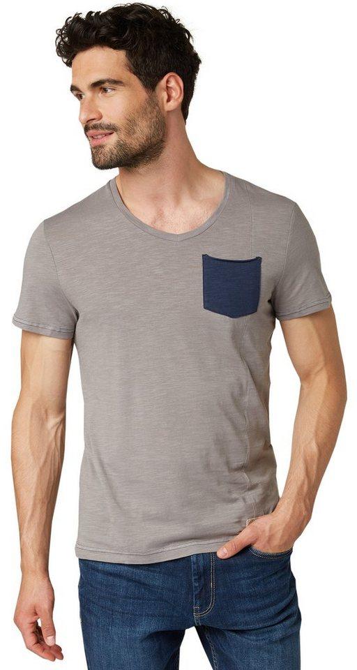 TOM TAILOR T-Shirt »T-Shirt mit dekorativer Naht« in titanium grey