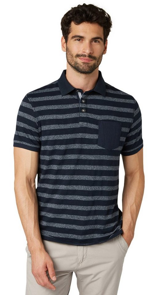 TOM TAILOR Poloshirt »Polo-Shirt mit Streifen« in dark blue