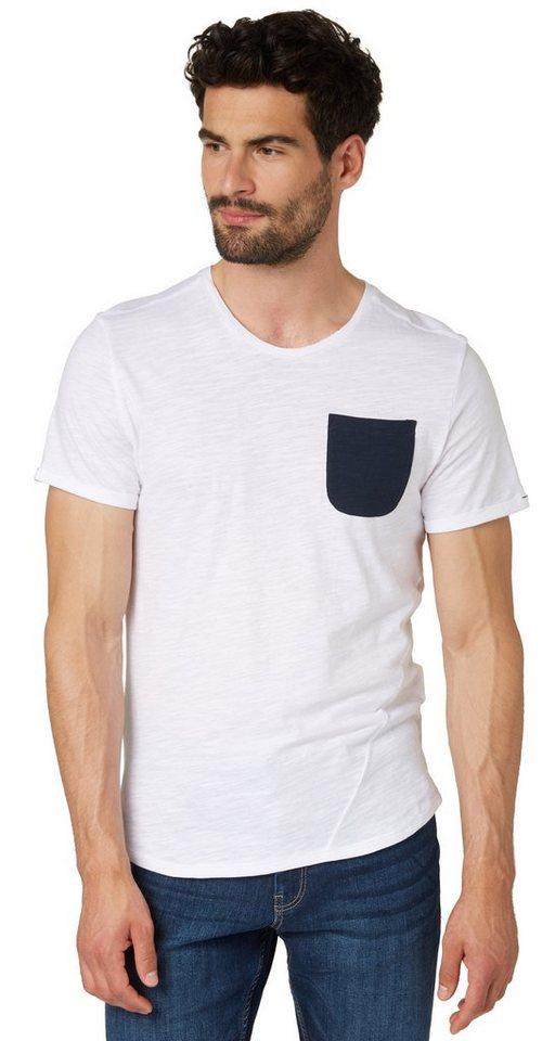 TOM TAILOR T-Shirt »Melange T-Shirt mit Brusttasche« in white