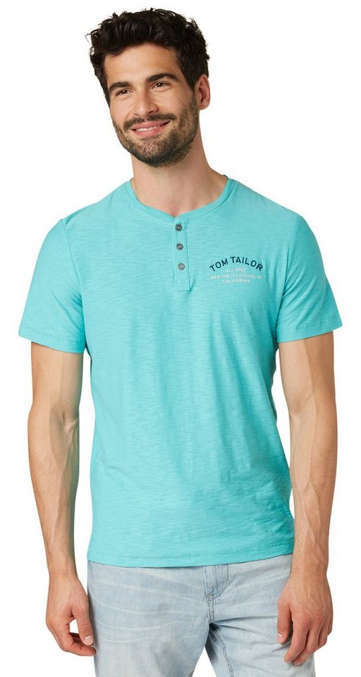TOM TAILOR T-Shirt »serafino with chest artwork« in bluish turquoise