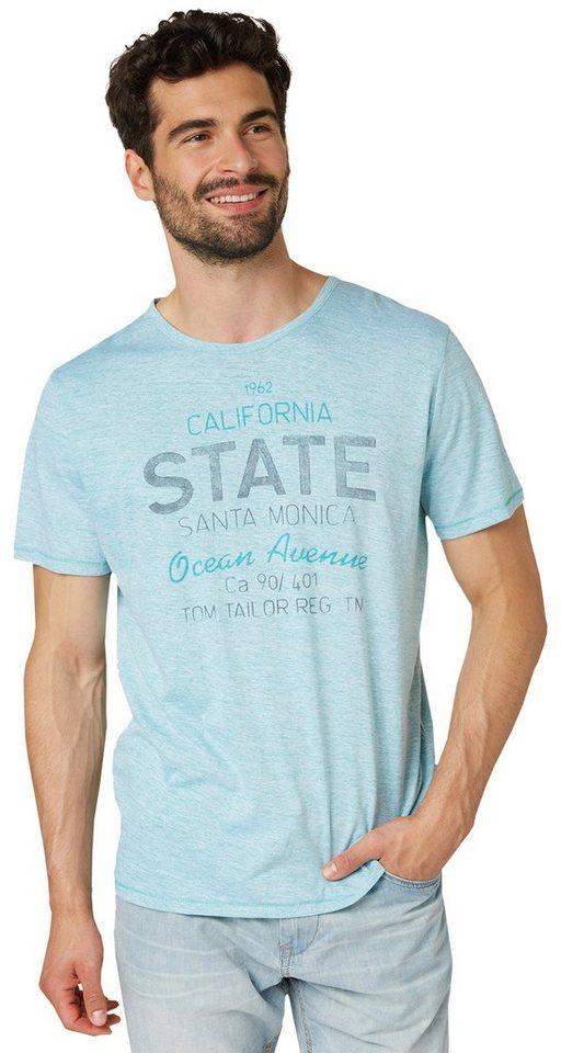 TOM TAILOR T-Shirt »T-Shirt in Melange-Optik mit Print« in bluish turquoise