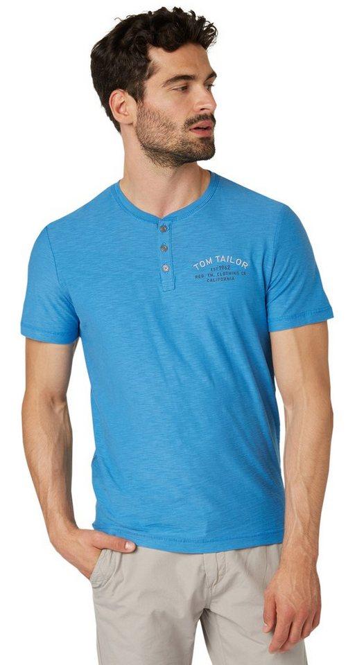 TOM TAILOR T-Shirt »Serafino mit Brustprint« in even blue