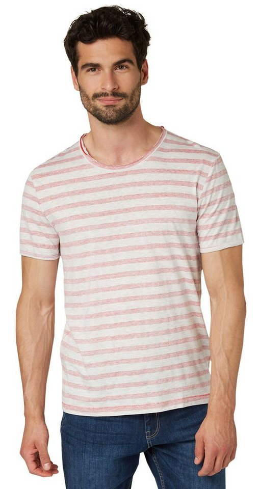 TOM TAILOR T-Shirt »T-Shirt mit Inside-Out-Print« in sun bleached red