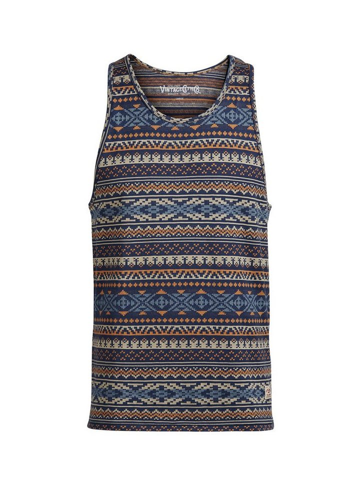 Jack & Jones Gemustertes Tank Top in Mood Indigo