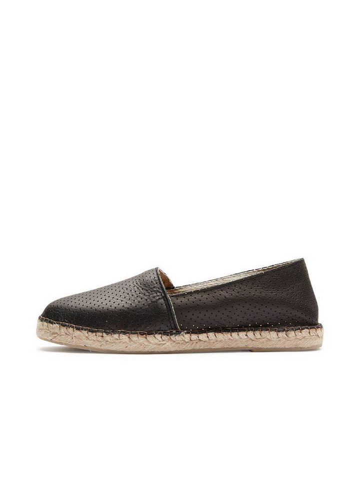 Selected Leder- Espadrilles in Black