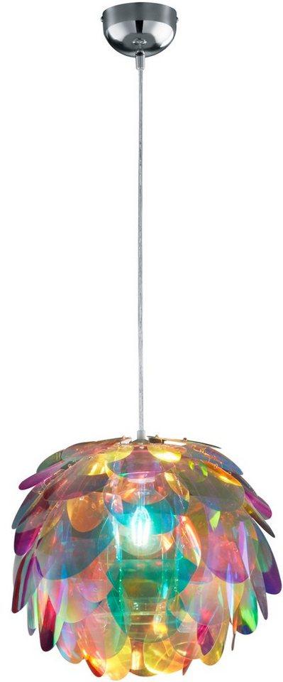 TRIO Leuchten Pendelleuchte, 1 flg. »CLOVER« in Schirm in Regenbogenfarben
