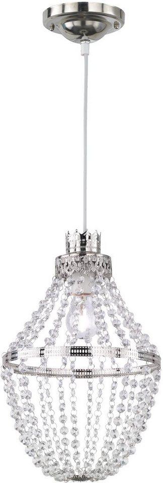 TRIO Leuchten Pendelleuchte, 1 flg. »SABRINA« in silberfarben, Kristallglas