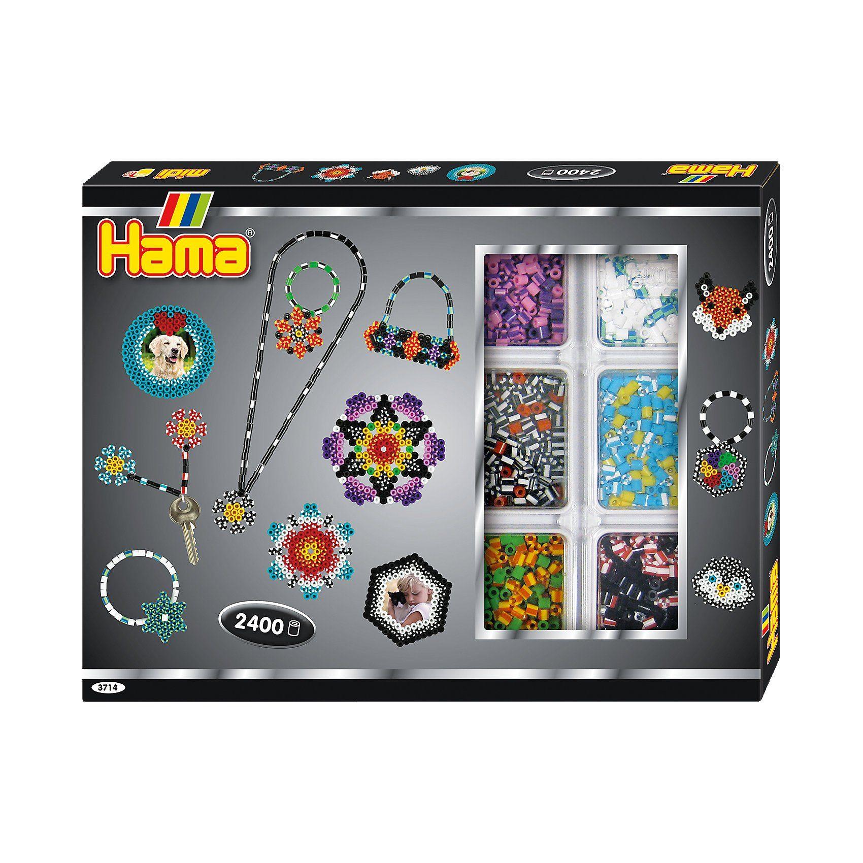 Hama Perlen HAMA 3714 Kreativbox gestreifte Perlen, 2.400 midi-Perlen &