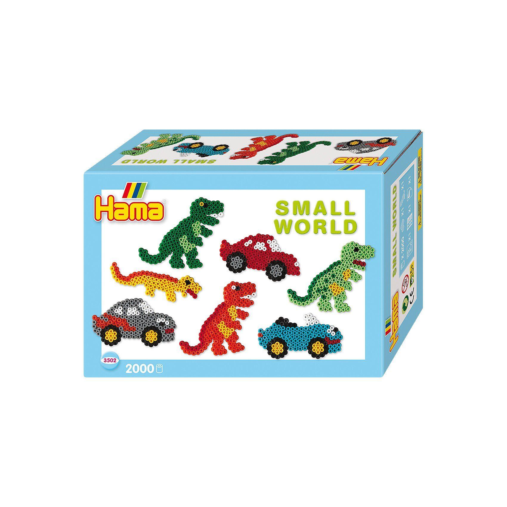 Hama Perlen HAMA 3502 Kleine Welt Auto & Dino, 2.000 midi-Perlen & Zubeh