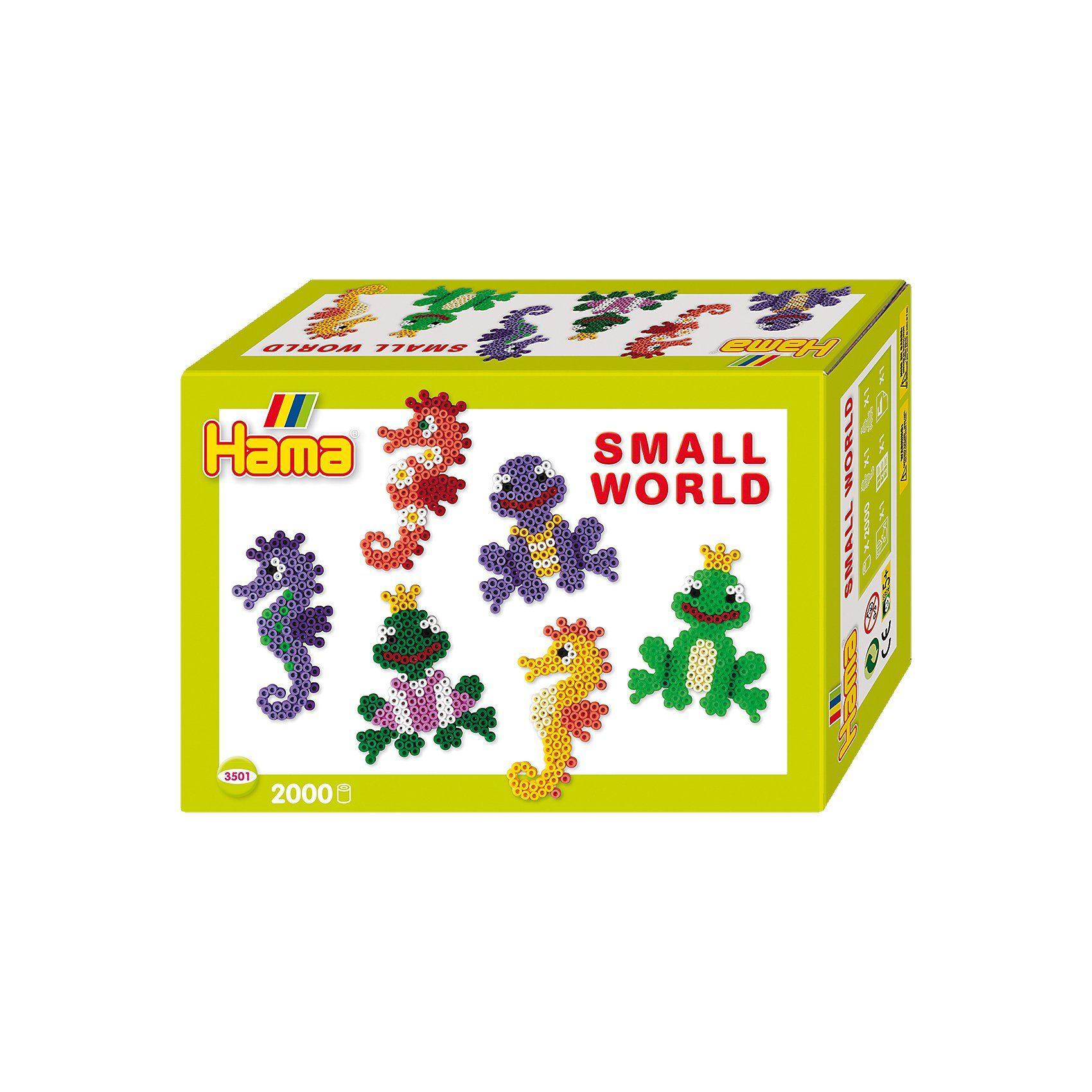 Hama Perlen HAMA 3501 Kleine Welt Seepferdchen + Frosch, 2.000 midi-Perl