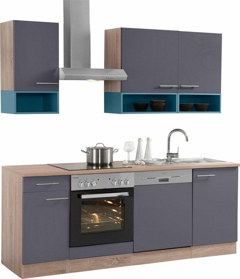 Optifit Küchenzeile ohne E-Geräte,»Korfu« Breite 210 cm in anthrazit