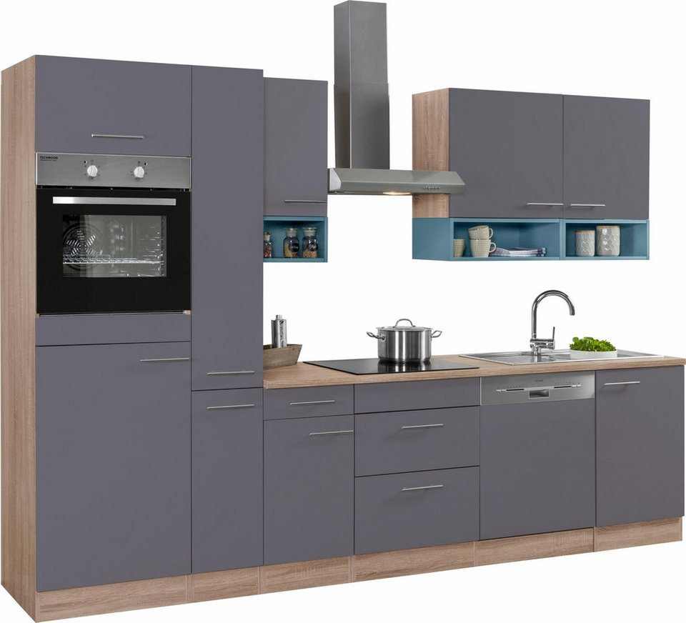 Optifit Küchenzeile ohne E-Geräte,»Korfu« Breite 300 cm in anthrazit