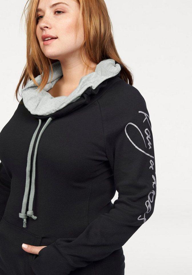 KangaROOS Longsweatshirt mit doppeltem Kragen in schwarz