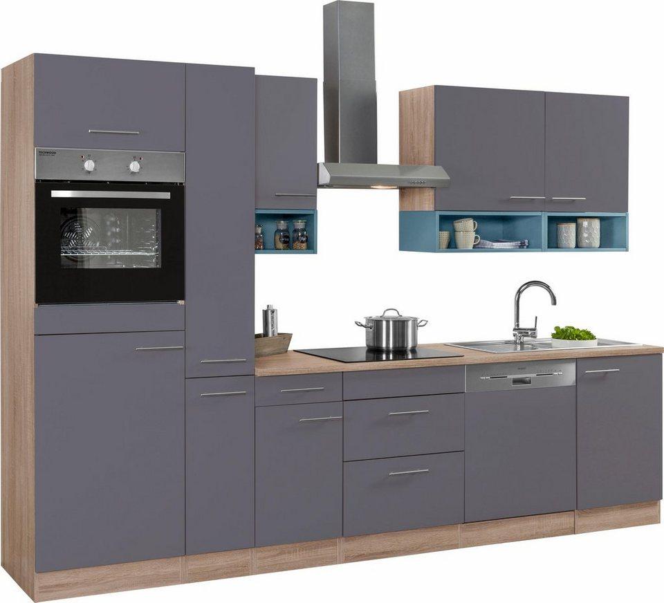 Optifit Küchenzeile mit E-Geräten,»Korfu« Breite 300 cm in anthrazit