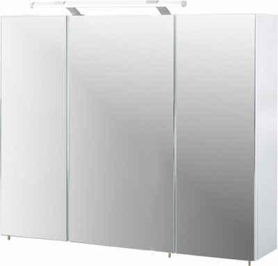 Schildmeyer Spiegelschrank »Dorina« Breite 90 cm, 3-türig, LED-Beleuchtung, Schalter-/Steckdosenbox, Glaseinlegeböden, Made in Germany