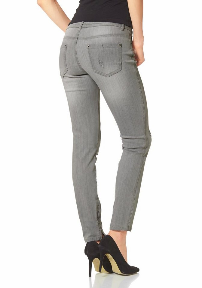 Laura Scott Destroyed-Jeans Anclezipper in grau
