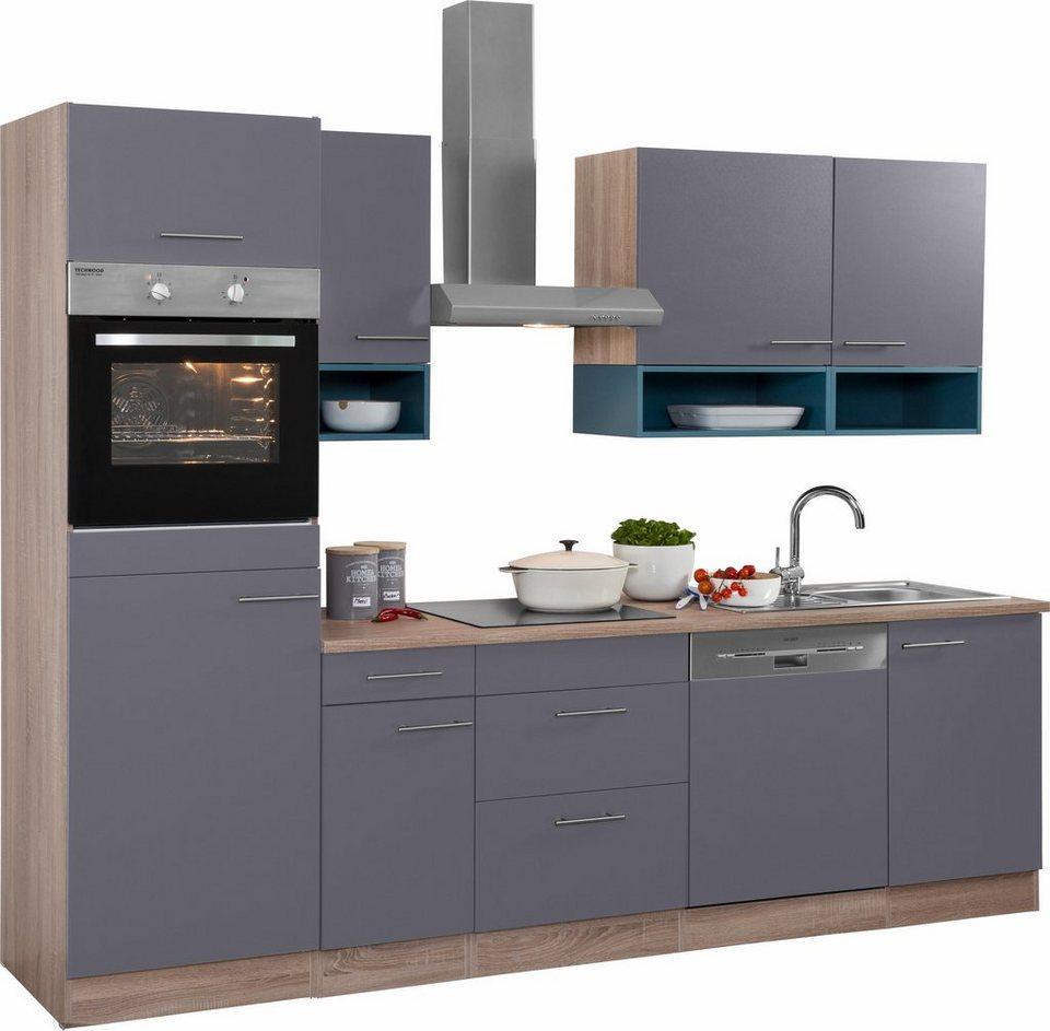 Optifit Küchenzeile ohne E-Geräte,»Korfu« Breite 270 cm in anthrazit