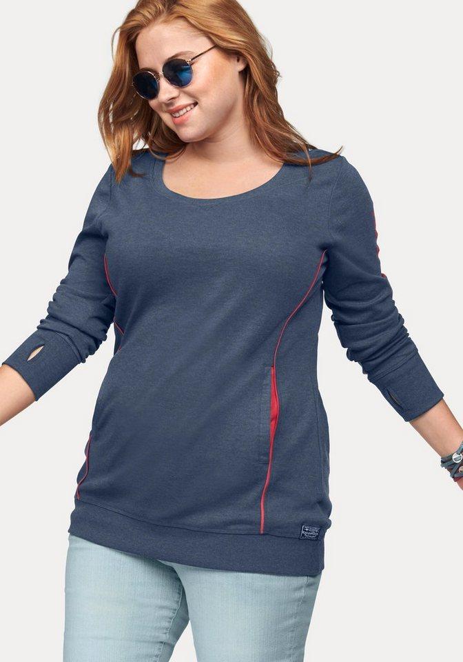KangaROOS Longsweatshirt mit dezenten Kontrastdetails in blau-meliert