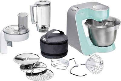 BOSCH Küchenmaschine CreationLine MUM58020, 1000 W, 3,9 l Schüssel, vielseitig einsetzbar, Mixer, Durchlaufschnitzler, 3 Reibescheiben, türkis/silber