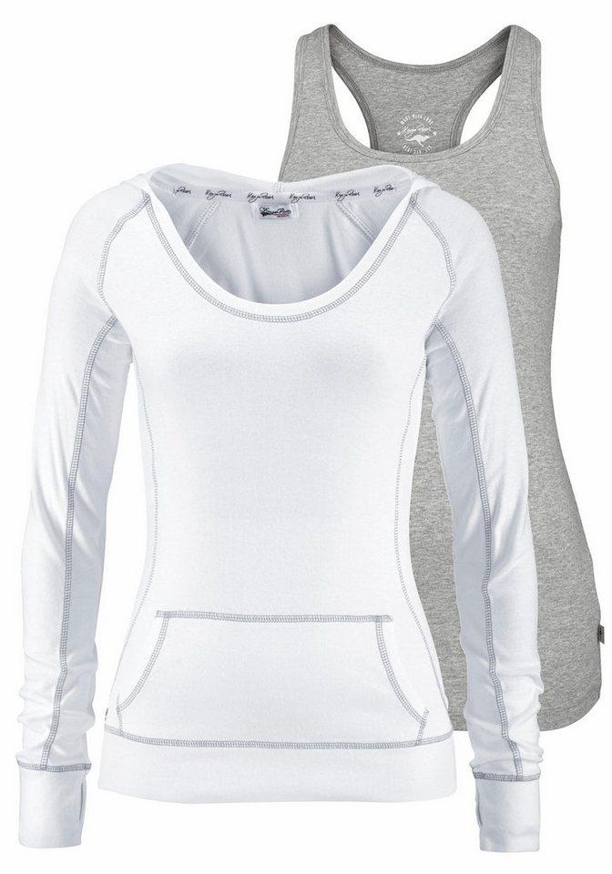 KangaROOS 2-in-1-Shirt mit Kapuze (Set, 2 tlg., mit Top) in weiß-grau-meliert