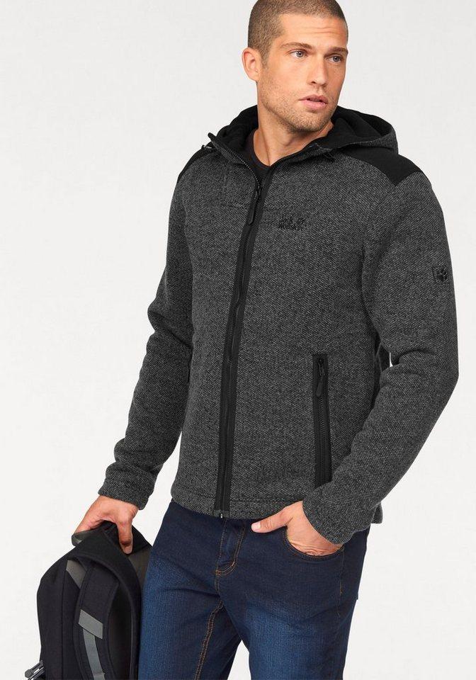 Jack Wolfskin Strickfleecejacke »BLACK CASTLE« mit warmer Wolle in grau-meliert