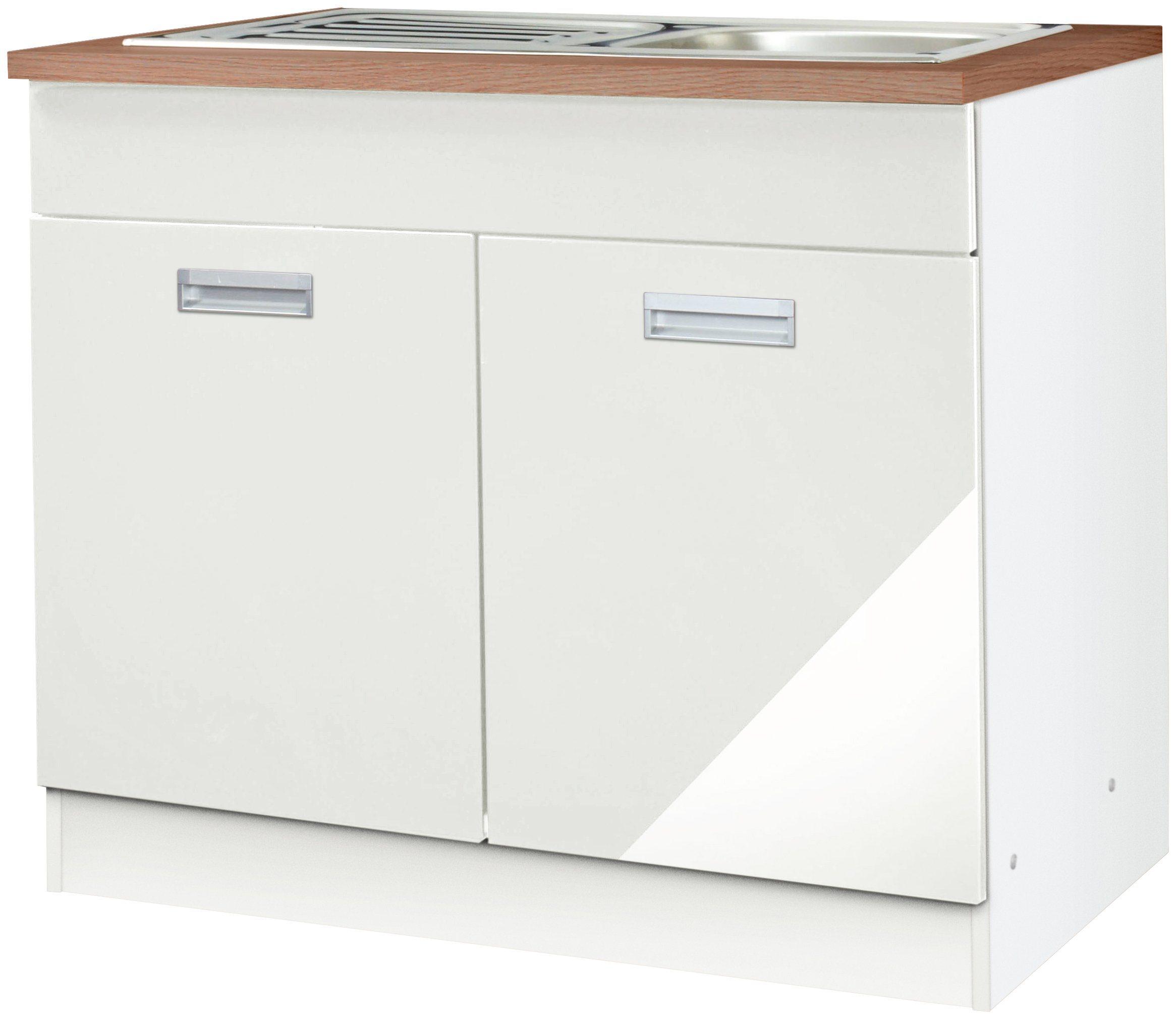 HELD MÖBEL Spülenschrank »Fulda, Breite 100 cm« | Küche und Esszimmer > Küchenschränke > Spülenschränke | Holzwerkstoff - Edelstahl | HELD MÖBEL