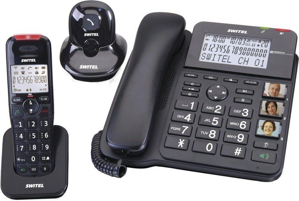 Switel Kombination aus Tischtelefon, Mobilteil und Alarmgeber »DCT64072 CP« in schwarz