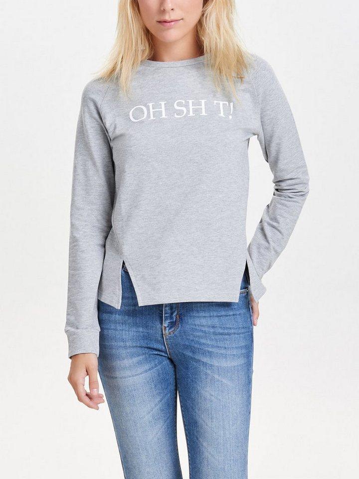 Only Bedrucktes Sweatshirt in Light Grey Melange