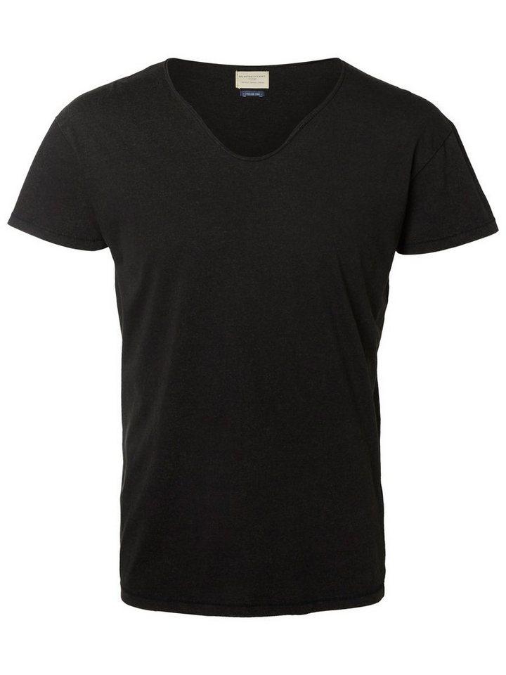 Selected V-Ausschnitt- T-Shirt in Black