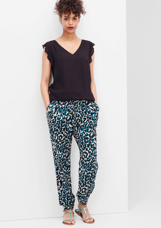 s.Oliver Denim Lockere Hose mit Allover-Print in petrol AOP