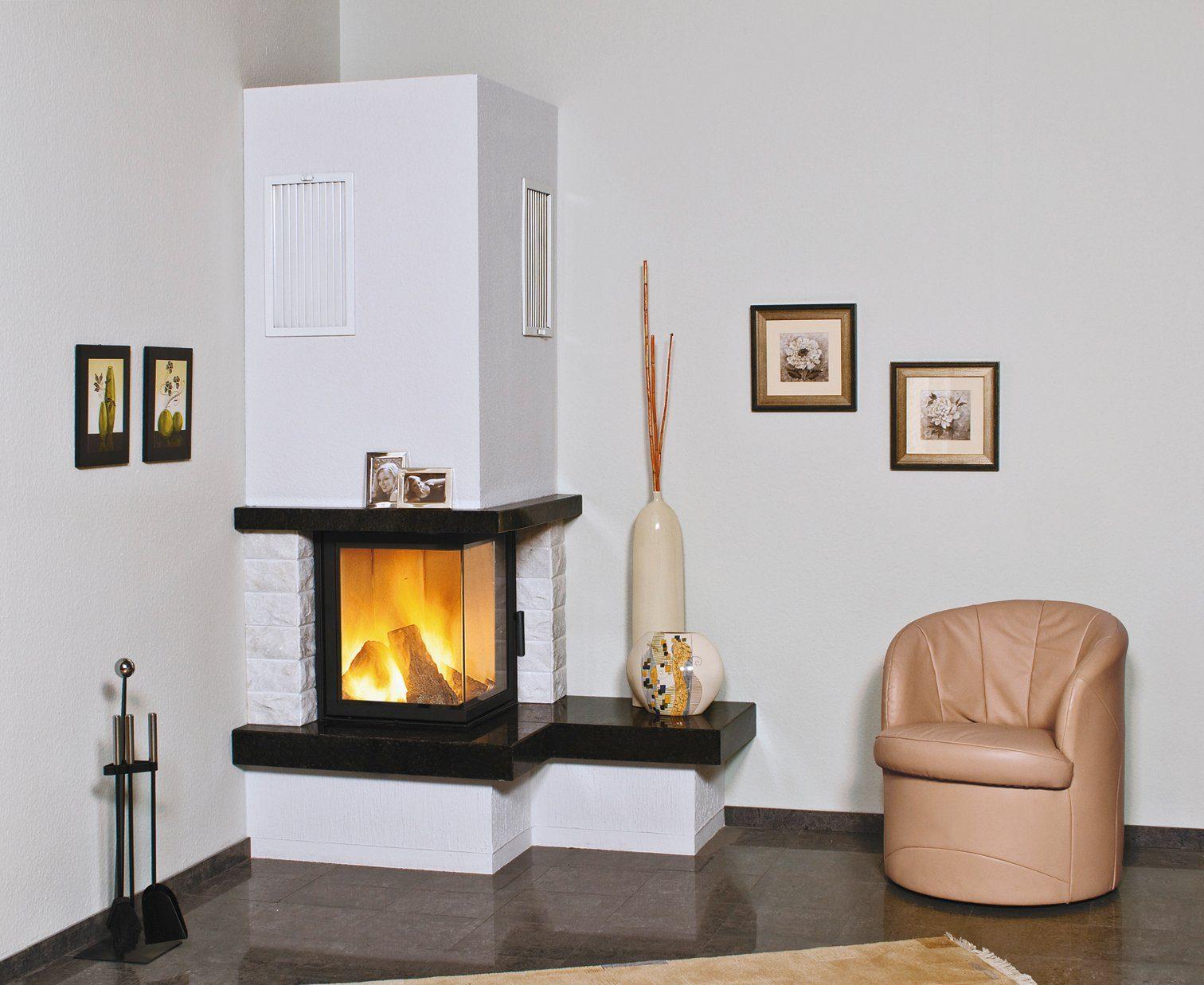 Hark Kaminbausatz »Nebraska Bank Rechts«, 8 kW, echter Marmor naturweiß,Sims Granit schwarz