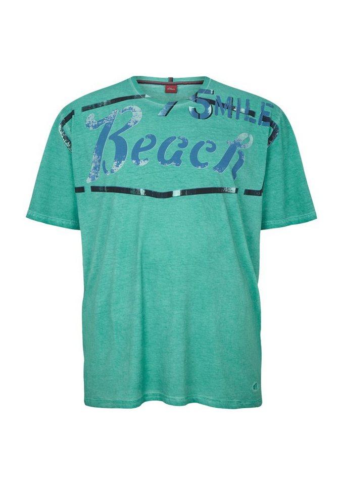 s.Oliver Garment Dye-Shirt mit Retro-Print in cold green