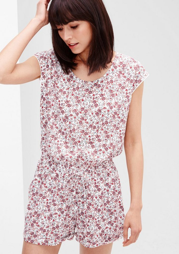 s.Oliver RED LABEL Kurzer Millefleurs-Jumpsuit in creme AOP