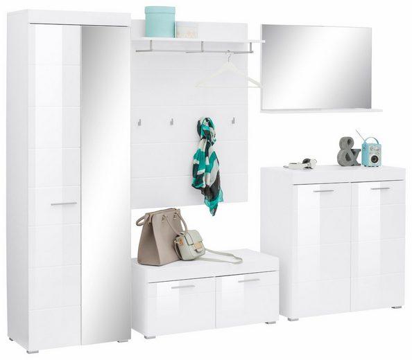 Garderoben set amanda 5 tlg mit hochglanz fronten for Garderoben set mit spiegel