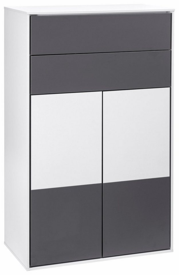 Schildmeyer Midischrank »Bodo« in weiß/basaltgrau-weiß