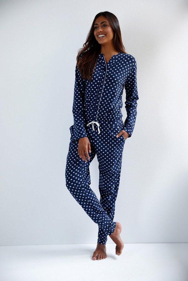 Bee Happy Langer Jumpsuit mit feinem Allover-Sternenprint in blau