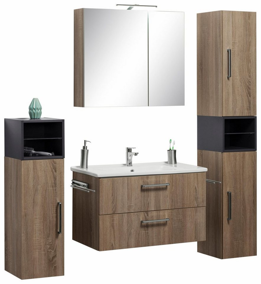 optifit badm bel set napoli 10 tlg mit farblich abgesetztem regalelement online kaufen otto. Black Bedroom Furniture Sets. Home Design Ideas