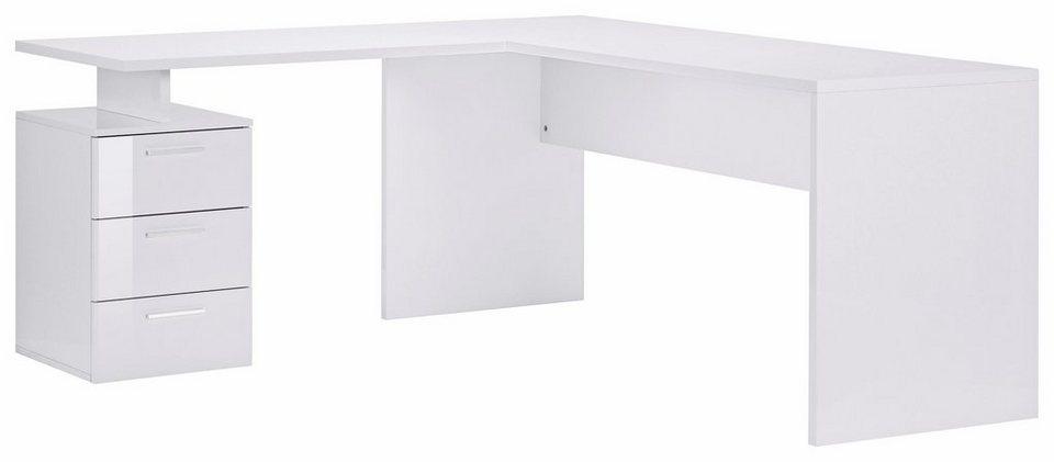 Eckschreibtisch weiß hochglanz  Tecnos Eck-Schreibtisch »New Selina«, mit 3 Schubkästen online ...