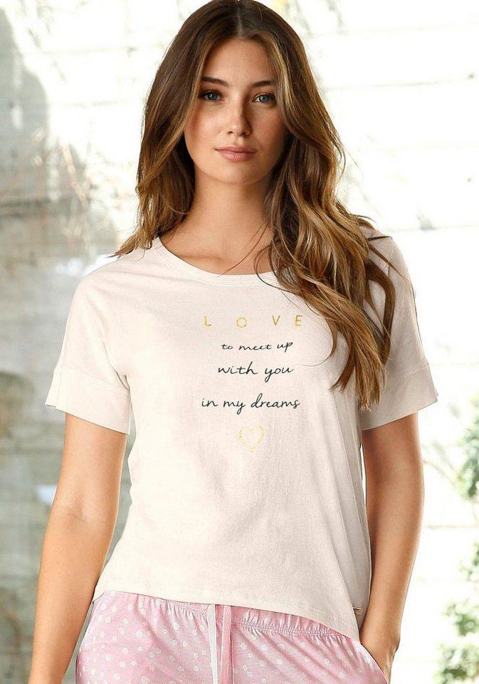 LASCANA Kurzarmshirt mit Schriftzug in ecru