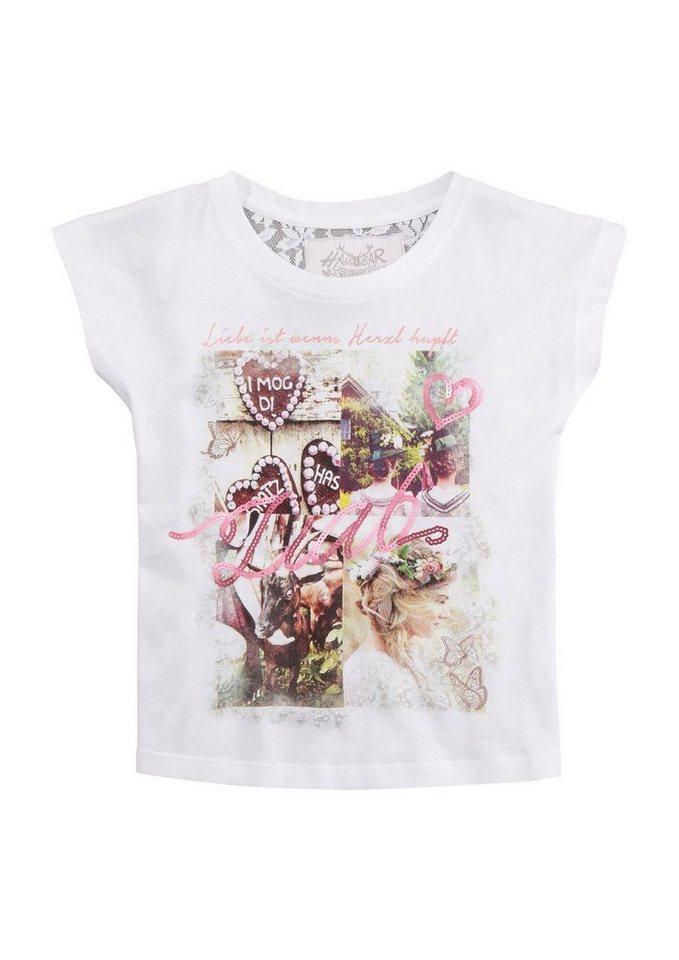 Damen,  Kinder Hangowear Trachtenshirt Kinder mit Pailletten-Schriftzug weiß | 04251363625591