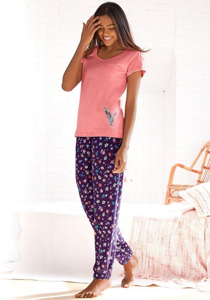 Vivance Dreams Pyjamahose mit Allovermuster in geblümt