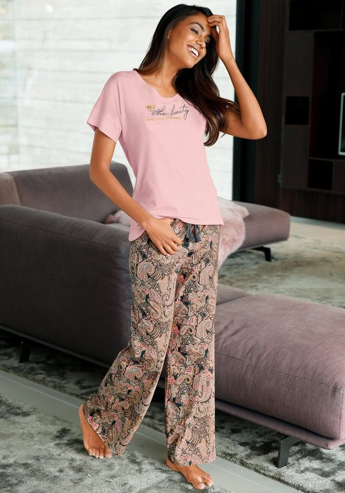 LASCANA Weite Hose mit Paisleymuster in rosa paisley
