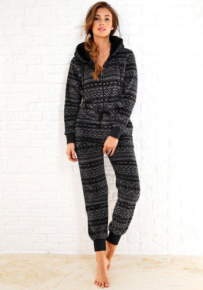 Rebelle Jumpsuit aus Fleece in schwarz-grauem Norwegerdesign in schwarz gemustert