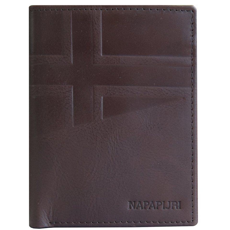 Napapijri Hike Vertical Wallet Geldbörse Leder 9,5 cm in brown