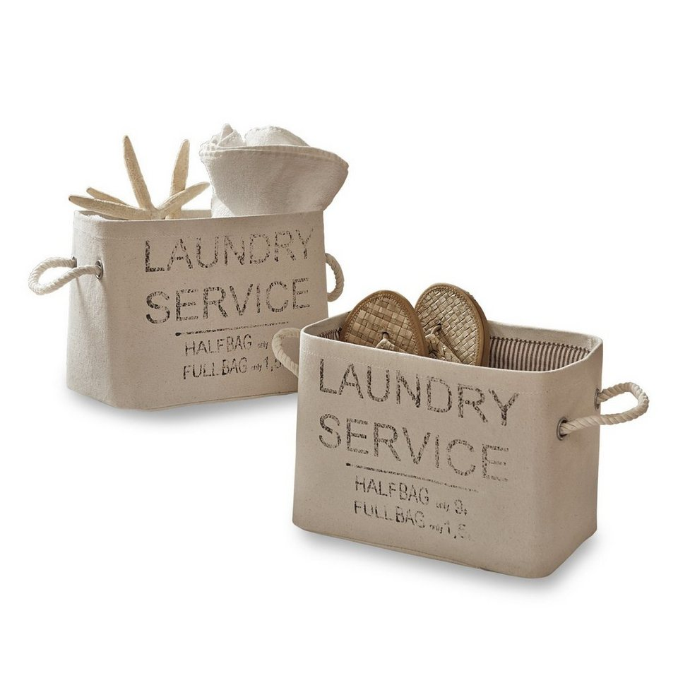 Loberon Körbe 2er-Set »Laundry« in creme