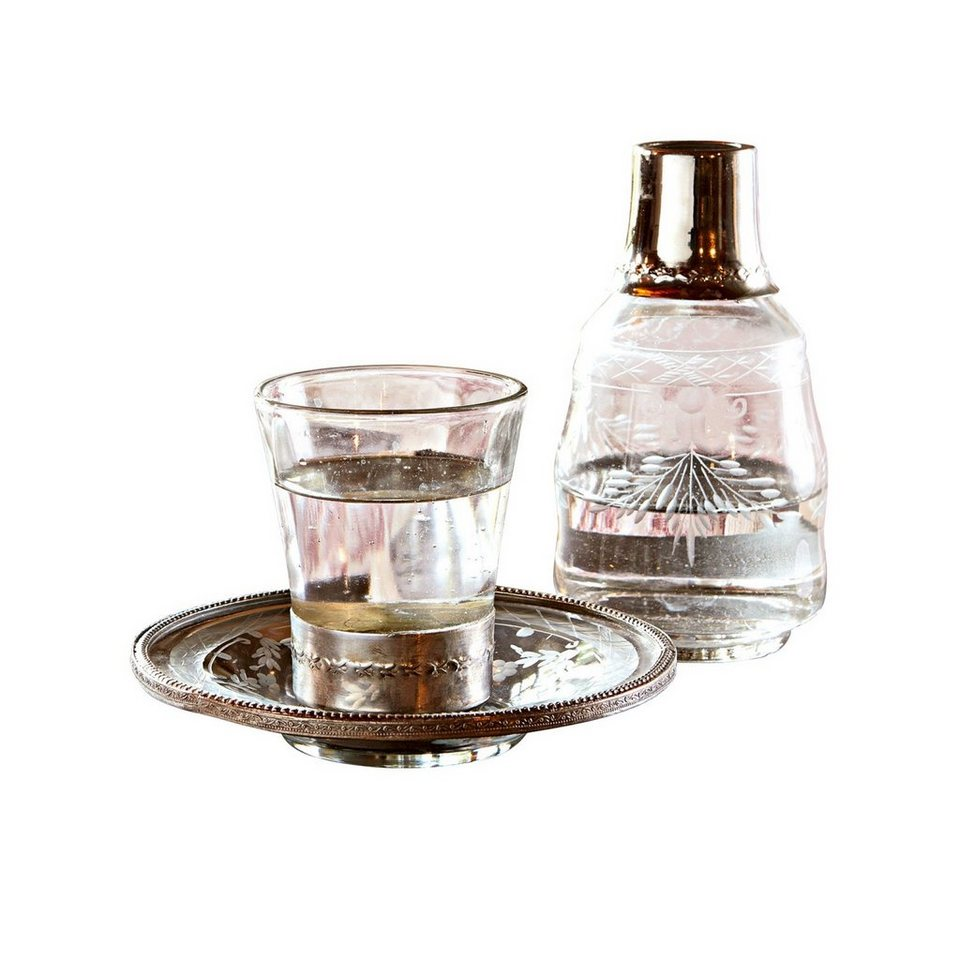 Loberon Flasche mit Glas »Clarissa« in klar/silber