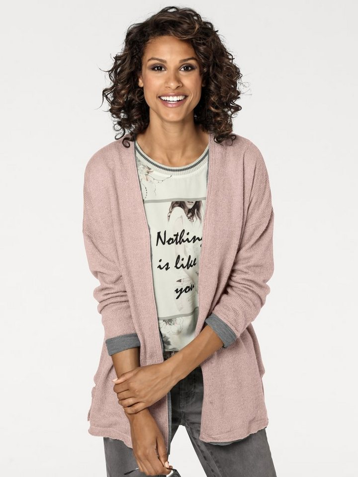 B.C. BEST CONNECTIONS by Heine Cardigan im Two-in-one Look in rosé